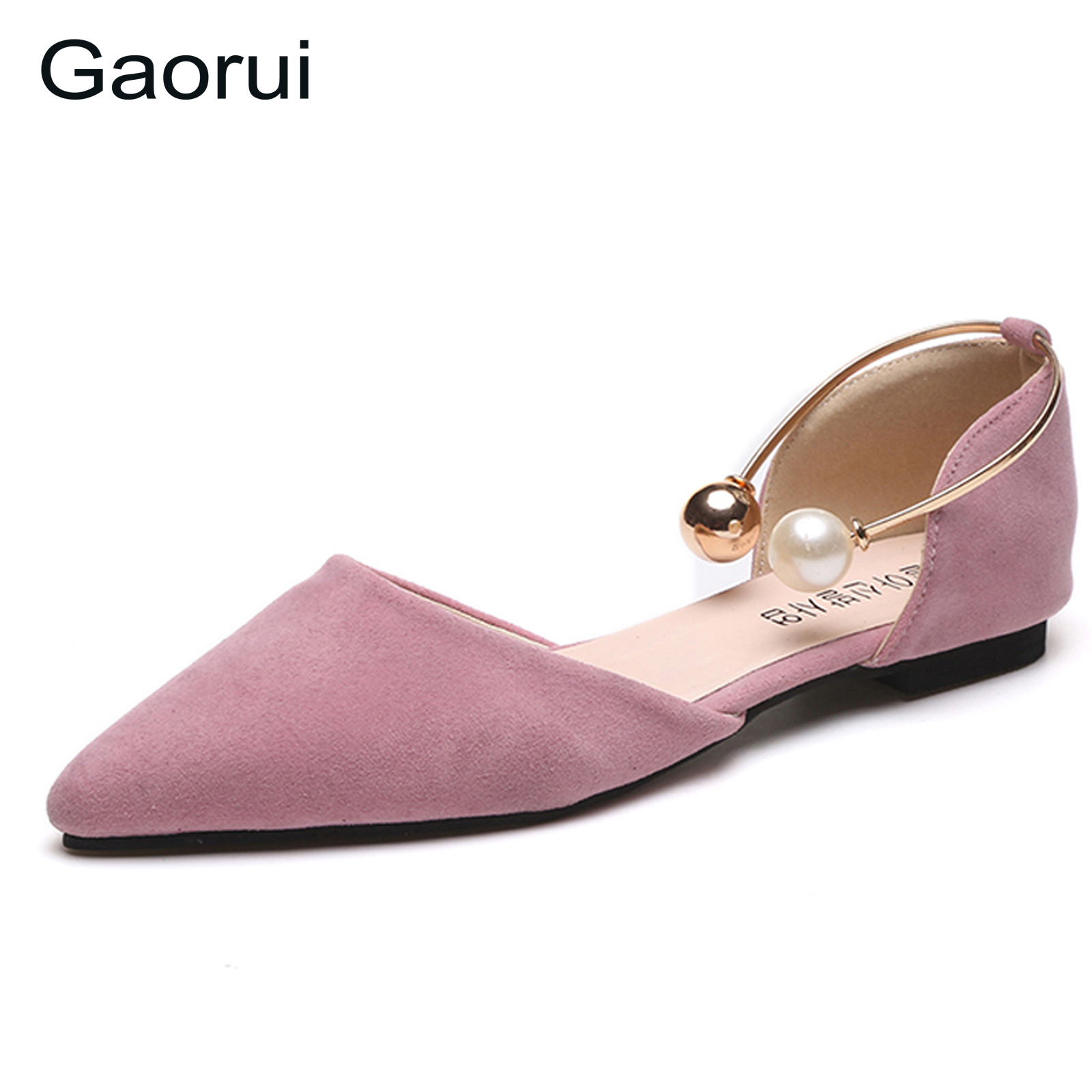 GAORUI 2017 New Women Fashion Shoes Casual Pearl Flats Pointed Toe Suede loafers flats Comfortable Shallow Mouth Single Shoe lin king fashion pearl pointed toe women flats shoes new arrive flock casual ladies shoes comfortable shallow mouth single shoes