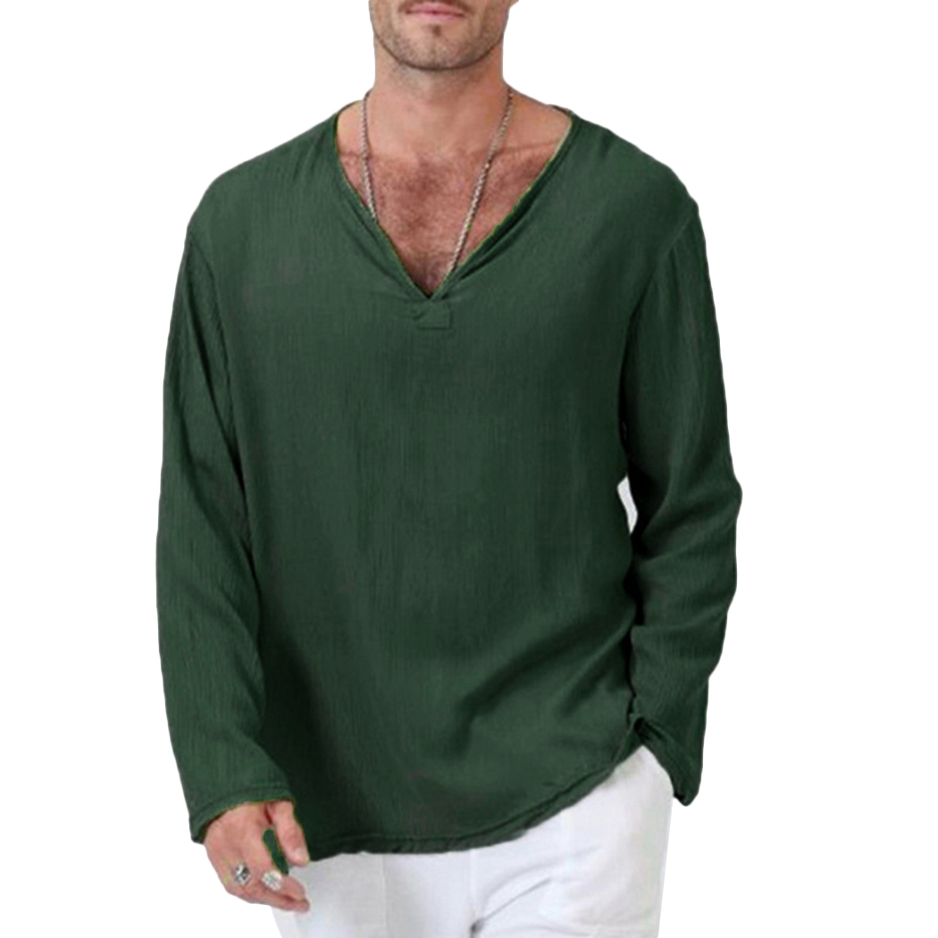 85305eac05b Fashion Men White Cotton Linen T Shirt Mens Vintage Long Sleeve V Neck  Loose Tops T Shirt Casual Green Tee Shirt Plus Size 3X-in T-Shirts from  Men s ...