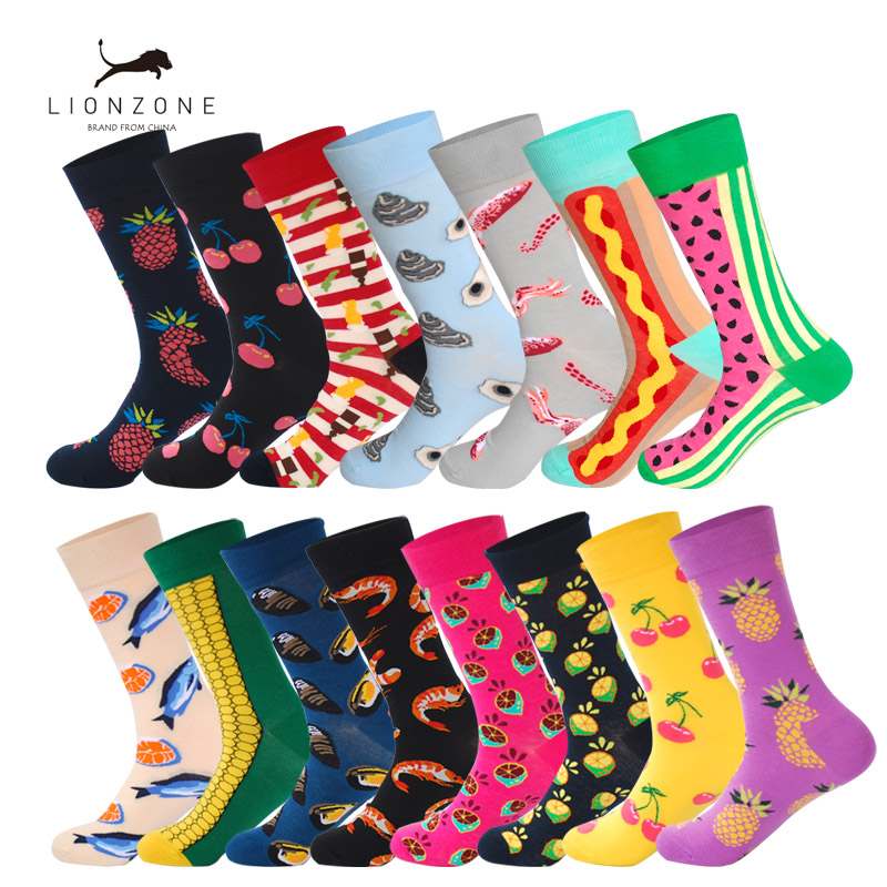 Fruit&Food Series Happy Socks With Fish Shrimp Cherry Mango Watermelon Designer Combed Cotton Funny Calcetines Largos Hombre