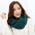 2016 Women Solid Color Ring scarves Knitted Wool Neck Cowl Wrap Scarf thicken winter warm 2 Circle Scarf