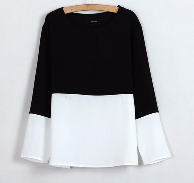 Mujeres Classic negro blanco gasa blusas camisas casuales de calidad o cuello de manga larga floja superior Blusas Femininas Europea ST198