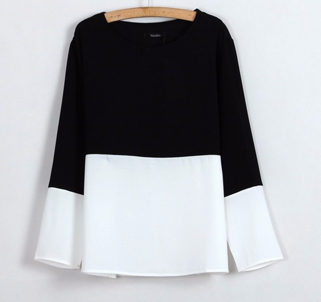 women Classic black white chiffon blouses quality casual shirts o neck long sleeve loose top Blusas Femininas European ST198
