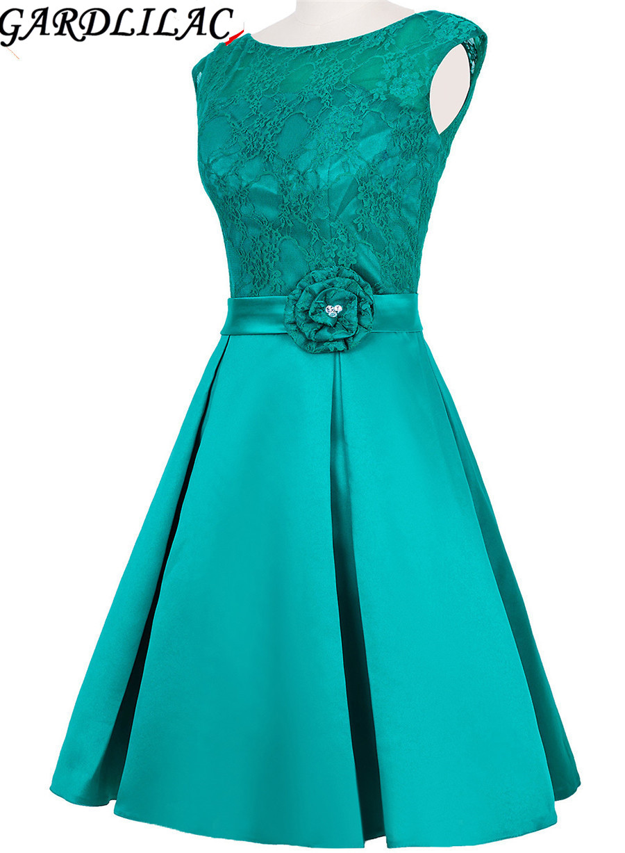 Gaedlilac Stain Pleat Short Evening Dress with Flower Green Formal Party Dress Lace top Appplique Evening Gowns 2017