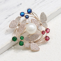 Vintage exquisite inlaid stone with three butterfly corsage temperament versatile brooch for women accessories pin