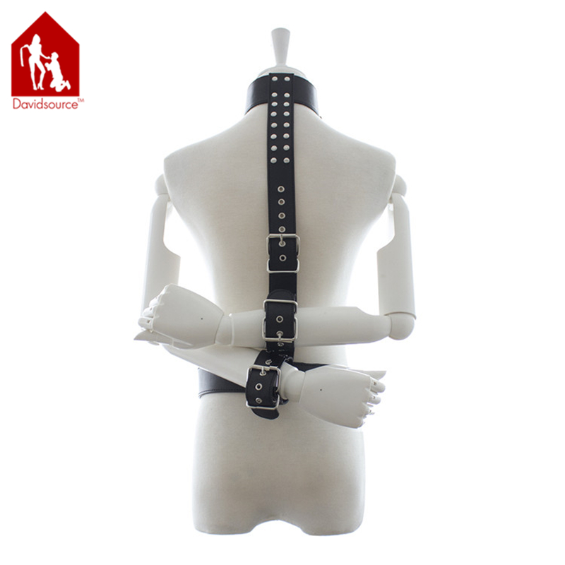 Davidsource Leather Collar To Waist Belt With Reverse Handcuffs Wrsit Cuffs Arms Leather Harness Restraints Fetish Wear