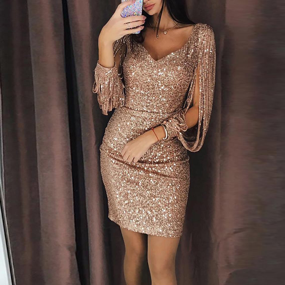 Gold Sliver Black Sequined Long Sleeves Straight Cocktail Dresses Party Gown Sexy Women Dress