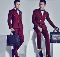 Ternos Masculino Custom Made Burgundy Men Slim Fit Suits Double Breasted Tuxedos Grooms Wedding Suits Formal