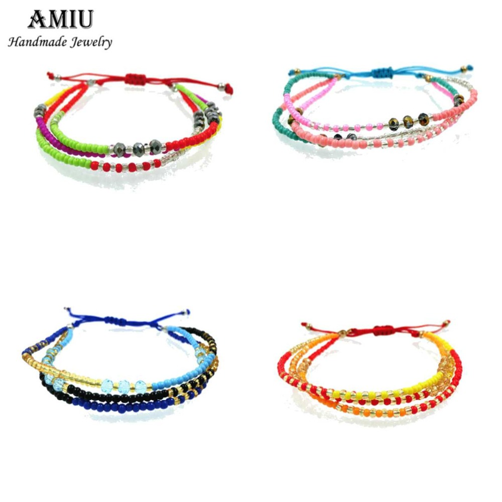 AMIU Handmade Hippy Seed Beads Handmade Friendship Bracelet Charm Crystal Glass ապարանջան Ապարանջաններ կանանց համար տղամարդիկ Dropshipping 2019