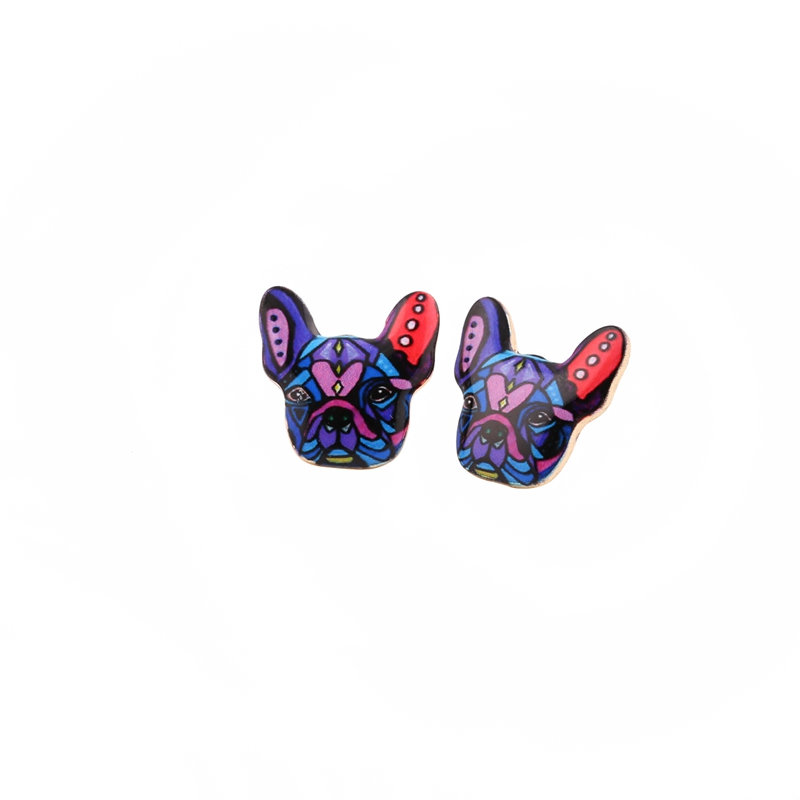 yiustar Colorful Special Relationship Symbolic Earrings for Women Stud Jewelry Vintage Dog Earring OED046
