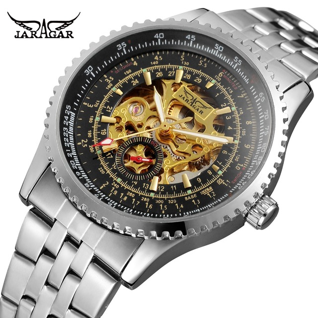 0eb4a110e15 JARAGAR Men's New Automatic Self-winding Watch Stainless Steel Bracelet  Skeleton Steampunk Analogue Dial Vintage Wristwatches