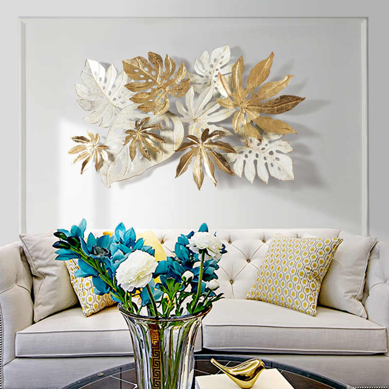 Ins Nordic Wrought Iron Wall Hanging Leaves Wall Decoration Crafts Home Sofa Background 3D Stereo Wall Sticker Mural Accessories