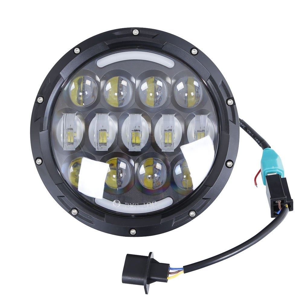 round H4 High Low Beam with Angle Eyes 7 Inch 78W LED DRL Projector Headlight For Jeep Wrangler (8)