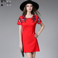 2016 Summer Women Vintage Lady Elegant Flower Embroidery A Line Sequins Dress Woman O Neck Midi