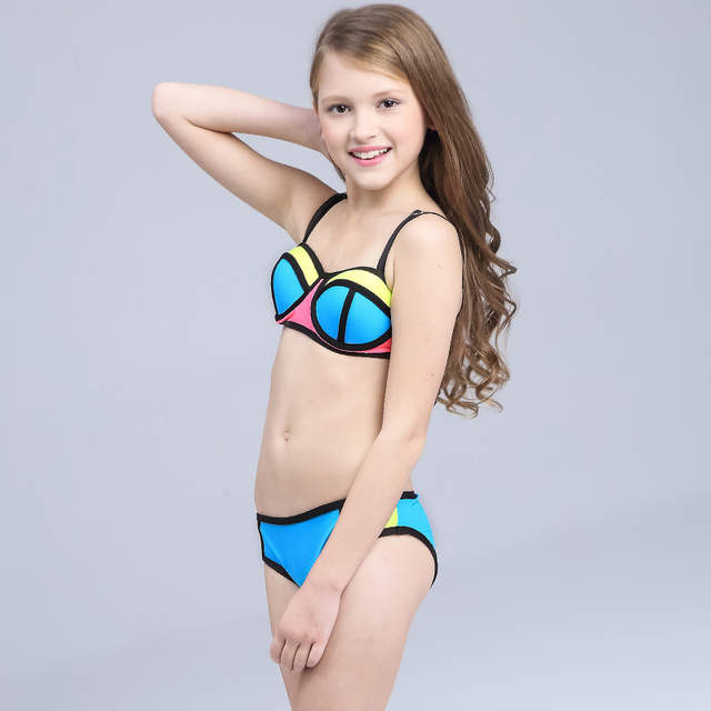 7889ee6bb6 Online Shop Brand 2019 hot sale Hit color stitching swimsuit For baby Girl  children beach Bikini Set two pieces Kids Swimming suit biquini |  Aliexpress ...