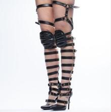 Sexy Pointed Toe Black White Pointed Toe Strappy Buckled Over The Knee Sandal Boots Women High Heel Gladiator Sandals Boots concise style leather straps women knee high gladiator boots t straps toe ladies high heel sandal boots summer hot cage boots
