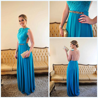 Vestido de Chiffon Blue Sexy A Line Lace Evening Gown See Through Back Chiffon Prom Dresses With Crystals robe de soiree