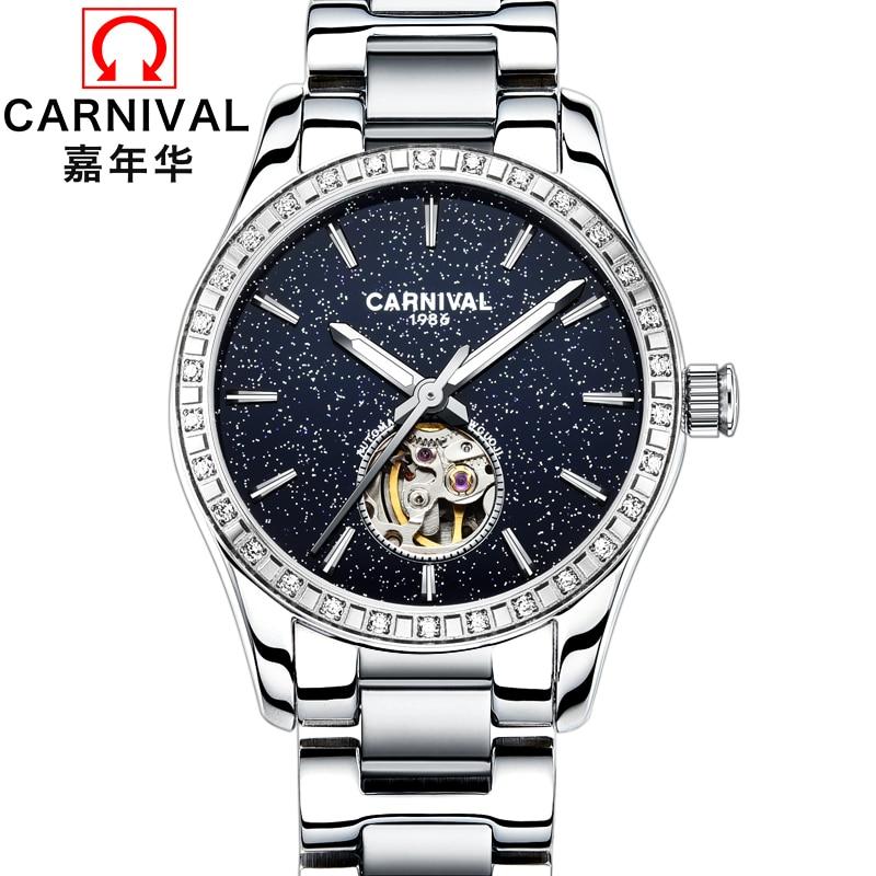 Karnevāla modes sieviešu pulksteņu luksusa skeleta rokas pulksteņi Automātiskie pulksteņi 2017 Pilns nerūsējošā tērauda 30 m ūdensizturība