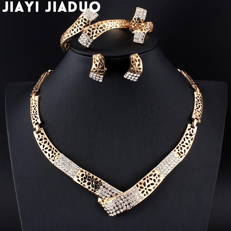 Befangen Unsicher Gehemmt Verlegen Jiayi Jiaduo 2017 Indische Braut Schmuck Set Für Schöne Frauen Gold-farbe Kristall Halskette Ohrringe Hochzeit Party Geschenk 2019 Offiziell Selbstbewusst