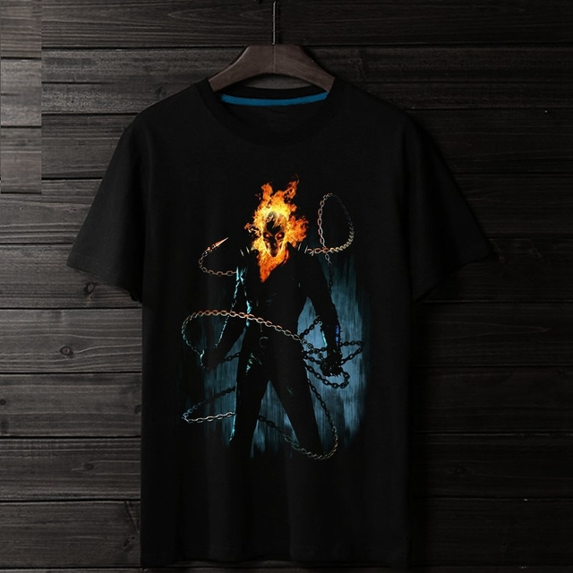 US $16 75 |2018 Evil Skull Movie Ghost Rider 3D Print 100% Cotton Men T  shirt Loose Quality Fire Homme Fans Cloth-in T-Shirts from Men's Clothing  on
