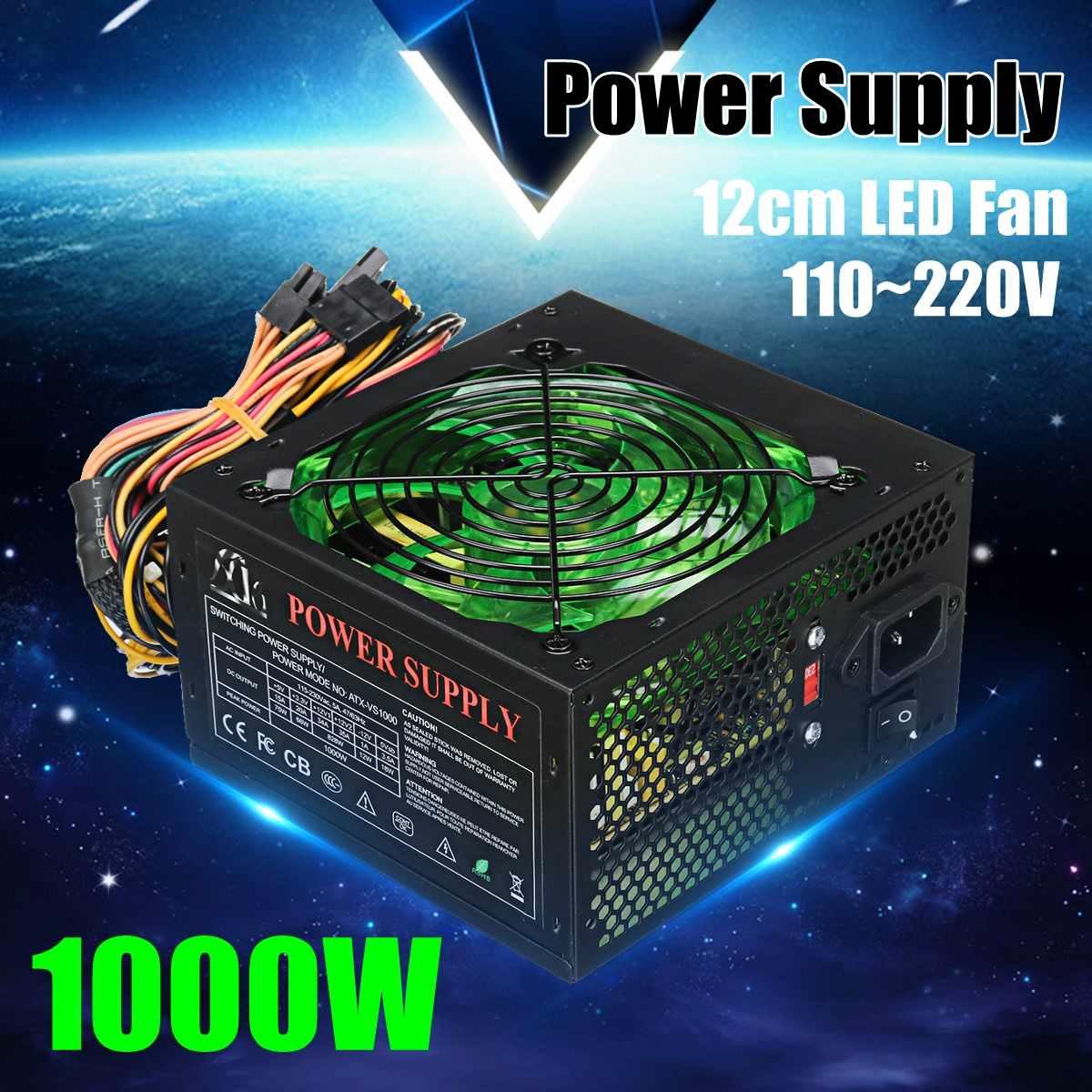Black 1000W 110~220V Power Supply PSU PFC 12cm LED Silent Fan ATX 24pin 12V PC Computer SATA Gaming Supply For Intel AMD Desktop