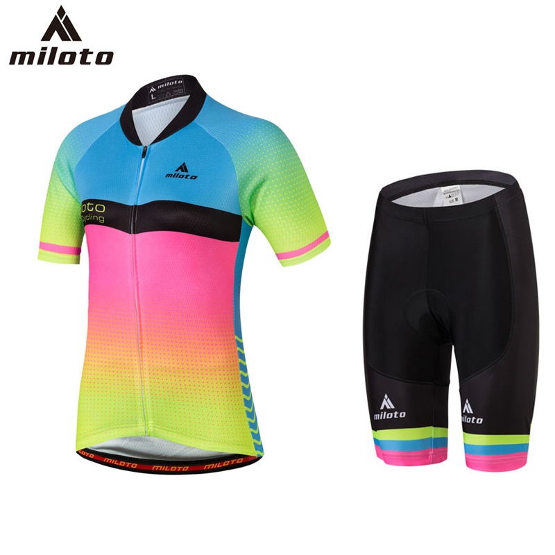 Miloto High Quality Short Sleeve Cycling Jersey Pant Sets roupas ciclismo Gel Breathable Pad Bib Shorts Cycling clothing Women
