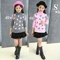 2016 New Brand Autumn &Winter 4~16 Girls Sweaters Long-Sleeve Wool Sweater Children Cartoon Clothing Girl Pollover Kids Knitwear