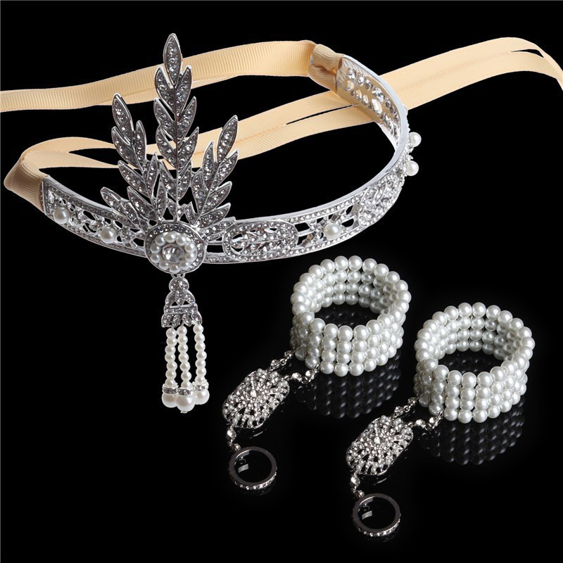 3 PCS 1920s Vintage Great Gatsby Headband Hair Accessory Crystal Pearl Tassels Band Hair Jewelry Wedding Bridal Tiara Headpiece