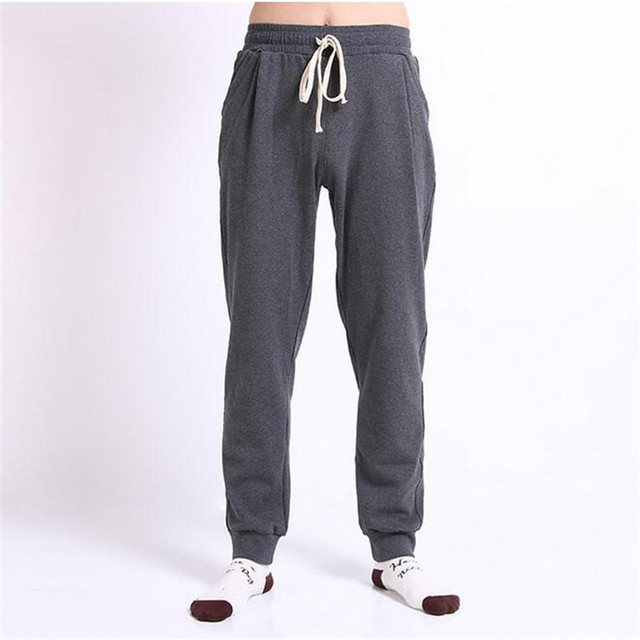 18013b05965 Mens Casual Sweatpant Autumn Winter Thick Cotton Joggers Men Solid Black  Grey Harem Pant Outwear Sportswear