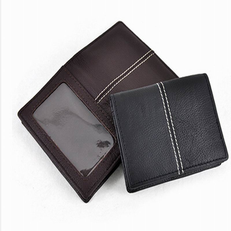 100% cowhide Genuine leather men wallets business bank card holder ...