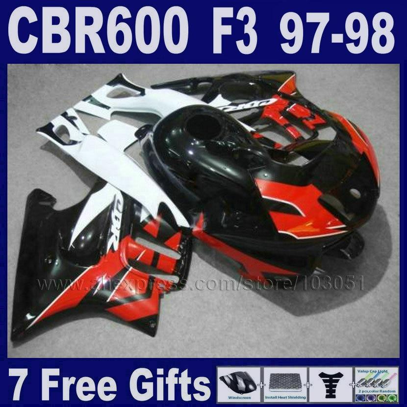 Factory  motorcycle fairings for Honda 1998 CBR600 F3 1997 CBR 600 F3 97  98 ABS black&red motobike fairings+Tank cover