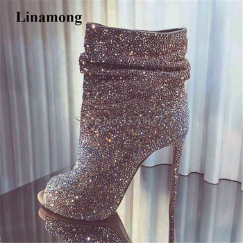 Luxury Bling Bling Silver Gold Black Rhinestone Slip-on Gladiator Short Boots Thin Heel Crystal Super High Heel Ankle Booties