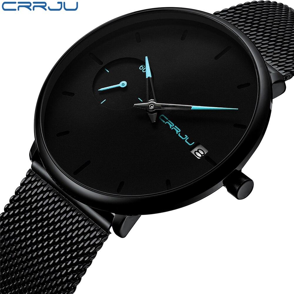 Crrju hombres Reloj impermeable fecha analógicas relojes para Hombre Casual de negocios de relojes de cuarzo para Hombre Reloj Hombre