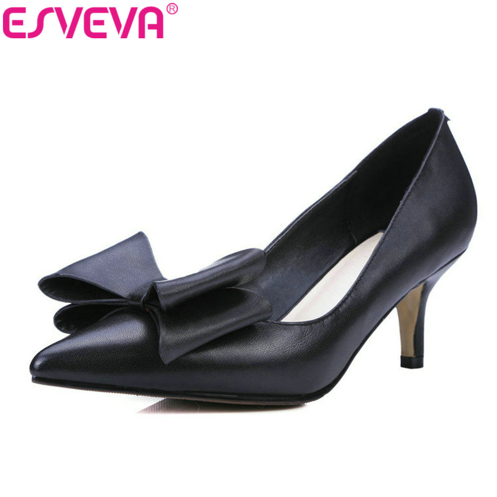 ESVEVA 2017 New Spring Black Pointed Toe OL Shoes High Heel Woman Pumps Bow Tie Thin Heel Genuine Leather Women Shoes Size 34-39 esveva 2017 ankle strap high heel women pumps square heel pointed toe shoes woman wedding shoes genuine leather pumps size 34 39
