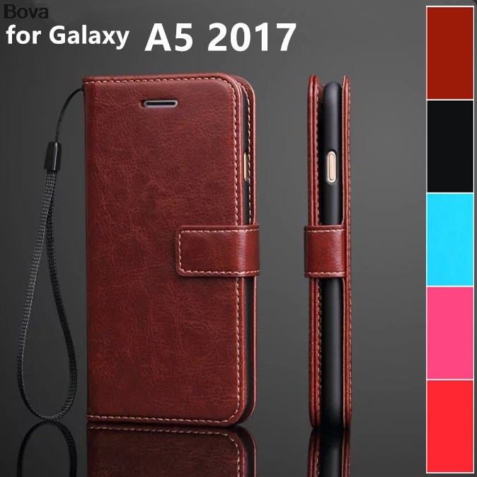 Card holder cover case for <font><b>Samsung</b></font> <font><b>Galaxy</b></font> <font><b>A5</b></font> <font><b>2017</b></font> leather protective case wallet Case flip cover for <font><b>Galaxy</b></font> <font><b>A5</b></font> <font><b>2017</b></font> <font><b>A520F</b></font> A5200 image