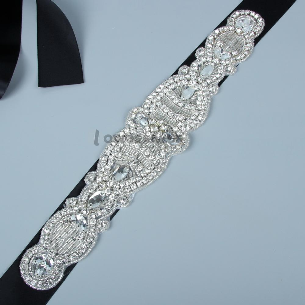 Handmade Delicate Dress Accessories Satin Rhinestone Bridal Belt Black Wedding Dress Belt Real Image Wedding Sashes