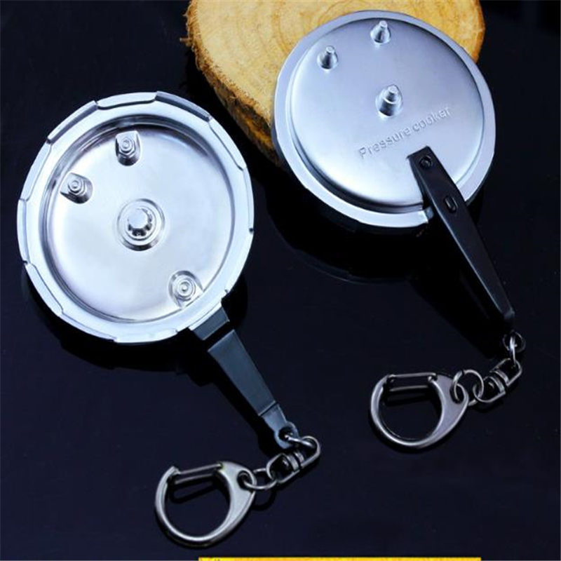 PUBG Jedi Survival Game Wilderness Action Weapon Pressure Cooker Full Metal Model Key Chain For Men And Women