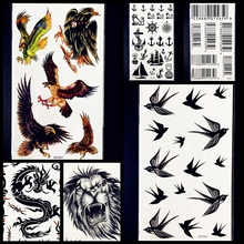 25 Style Bar Codes Eagle Swallow Birds Temporary Tattoo Stickers 17x10CM Black Lion Dragon Body Art Fake Flash Tattoo Men Women