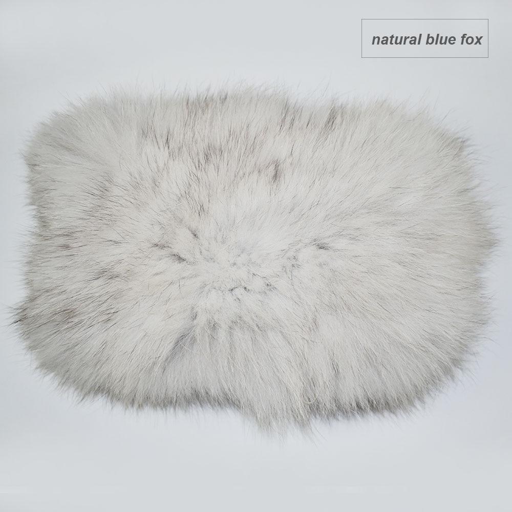fox fur headband color natural blue fox