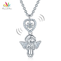 Peacock Star Angel Heart Dancing Stone Kids Girl Pendant Necklace Solid 925 Sterling Silver Children Jewelry CFN8068