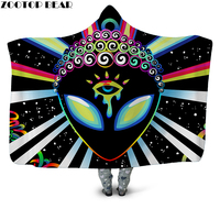 Alien Hooded Blanket 2019 3D Print Casual Soft Patterned Cover Quilt Fashion Brand Adult Wearable Fleece Blankets Popular Couple