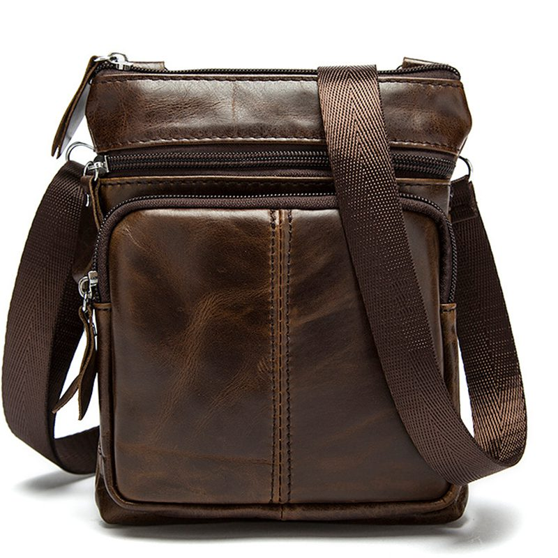New Casual Leather Men Bag Small Coin Purse Shoulder Bag Vintage Design Zipper Style Messenger Bags Handbags for Men S-224