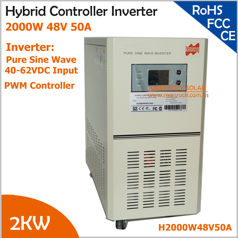 Hybrid controller inverter with UPS for off grid solar power system, 2000W 48V pure sine wave inverter with 50A PWM controller