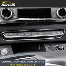 GELINSI Stainless steel Car Central control switch farme Cover Trim Car Exterior Accessories Fit for Audi Q5 2018Auto Car