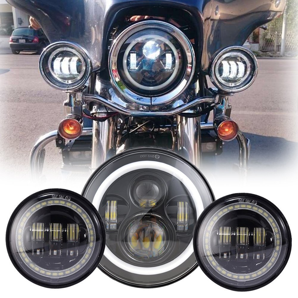 7 inch LED Headlight white Angel eye halo Ring DRL+4.5 inch Fog Light Passing Lamps Red Demon eyes for Harley Motorcycle