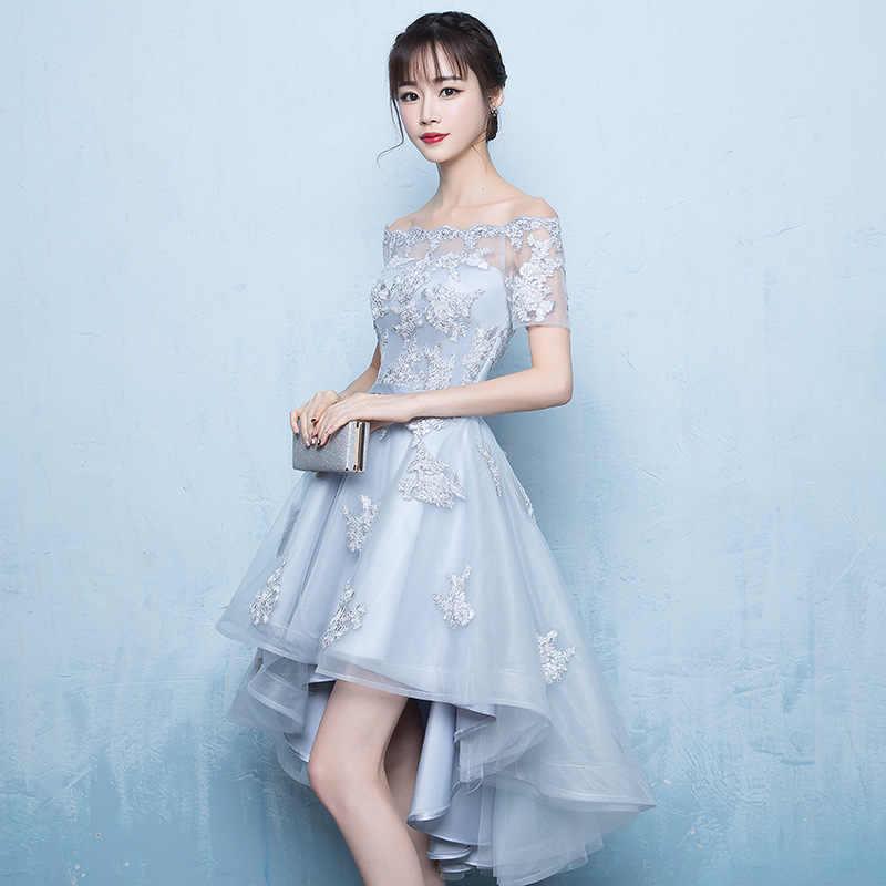 זה YiiYa סקסי סירת צוואר רקמת תחרה שמלות נשף גבוהה נמוך תה-אורך פורמליות שמלת המפלגה שמלת QJ001