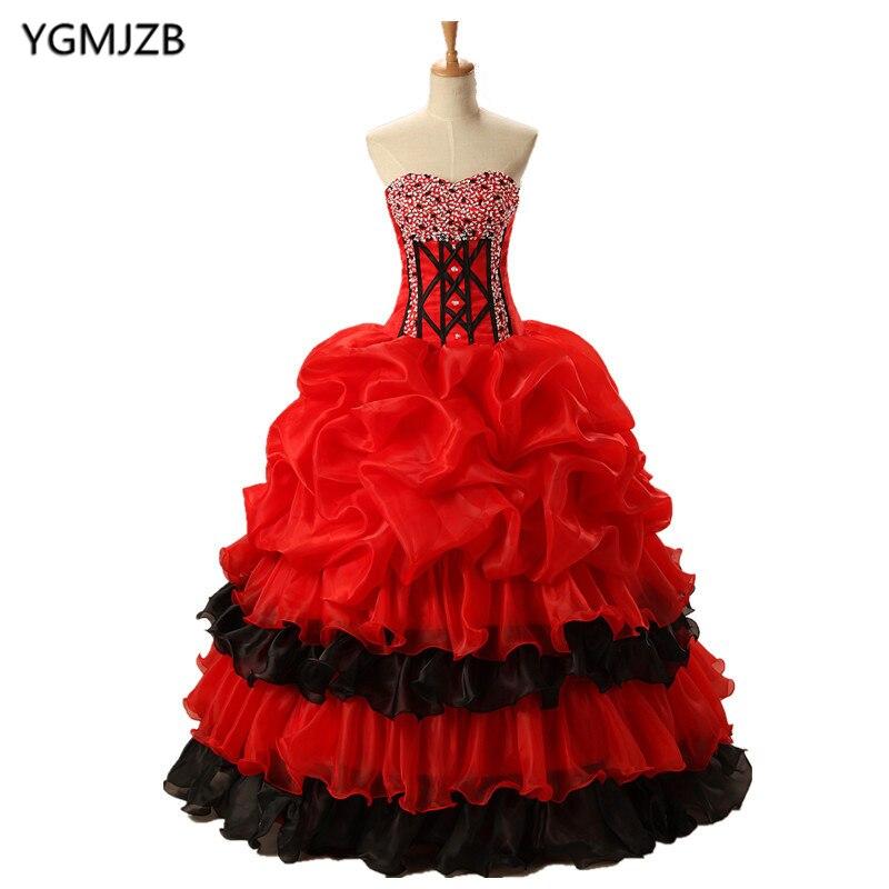 Красные, черные Бальные платья для выпускного вечера, 2018 милое платье с оборками и бисером, Vestidos De 15 Anos, милые бальные платья 16