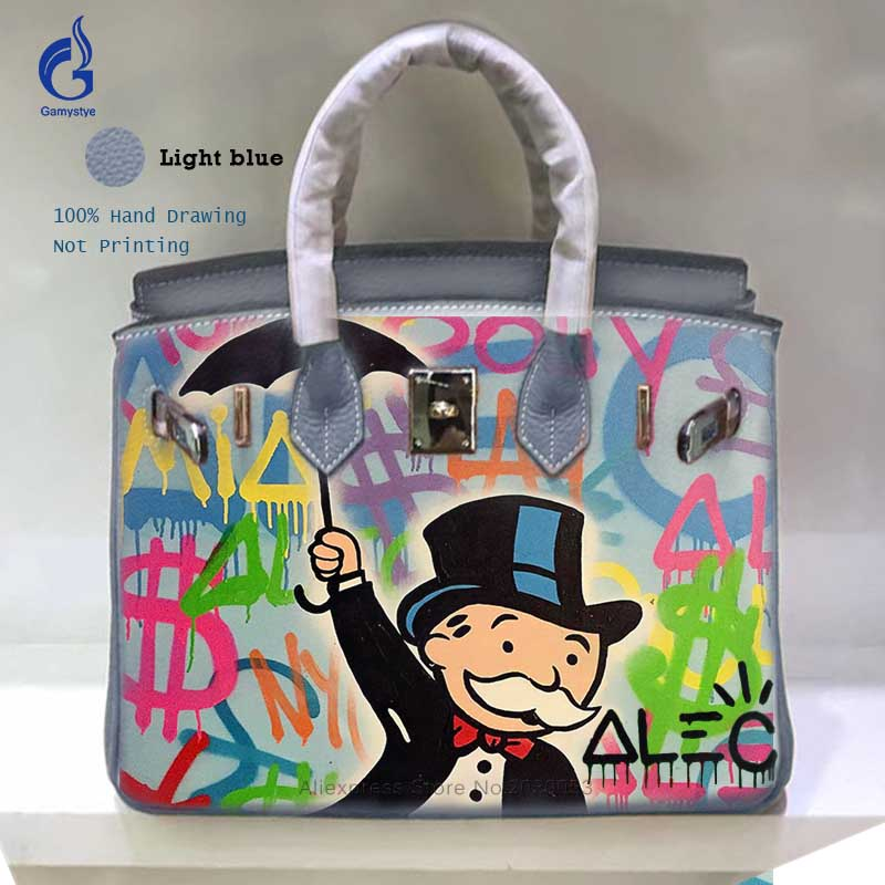 f39fdb71ce Yellow Genuine Leather Bag Hand Painted Alec Monopoly Art Totes Bag ...