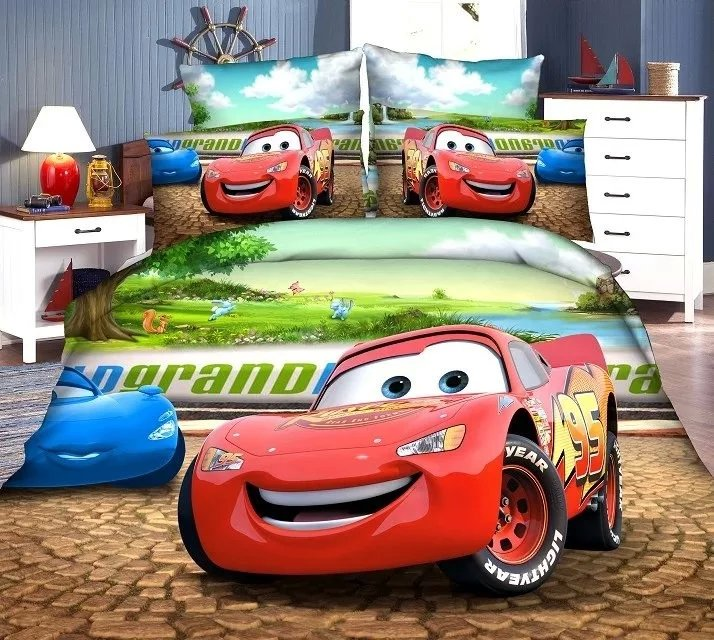 3D McQueen car-covers bedding set twin single size baby boy's bedroom decor duvet covers sheets 3pc green red Reactive printing