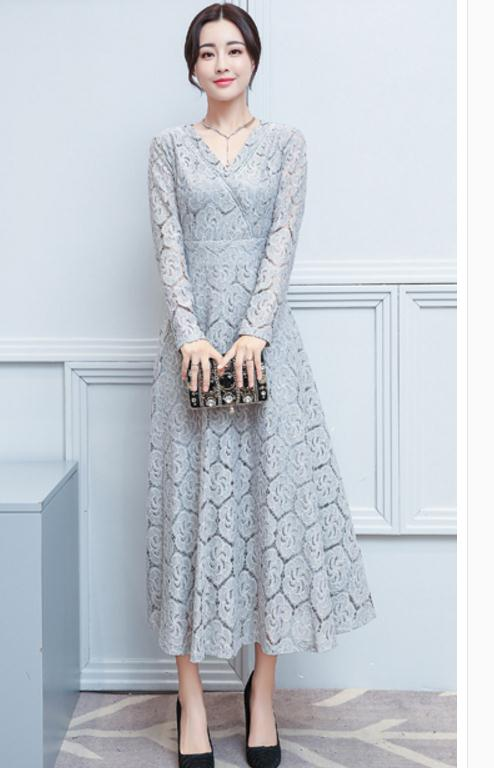 V-neck lace dress 2018 spring and autumn new women's fashion dress