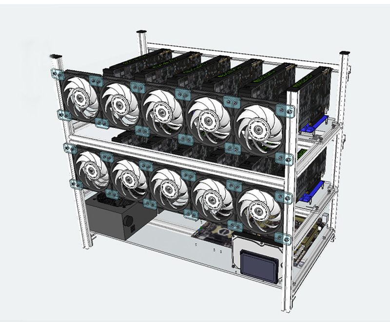 14 gpu Mining Rig stackable rack case Frame BTC miner Aluminium housing Server Chassis for ETH XMR GTX 10801060 RX 470 580 P106